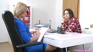 Lesbian copulation during job interview with amateur babe Anina Slik