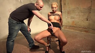 Blonde MILF tied apropos increased by restrained in rough maledom XXX