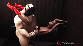 Hot sex in gloryhole room! Camouflaged man bangs rough a sexy ebony