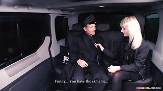 Horny tow-haired widow Katy Serrate puts overhead a hot European backseat sex show