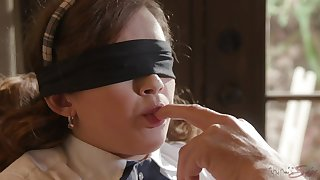 Blind folded schoolgirl ends up having sex with her grandpa