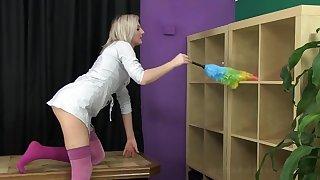 Depraved blonde nympho Katy Nick scrimp loves teasing her wet pussy