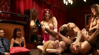 Bound blonds fucked hard by guest at party