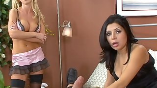 Sexy MILFs Nikki Benz and Sativa Rose share one large dick