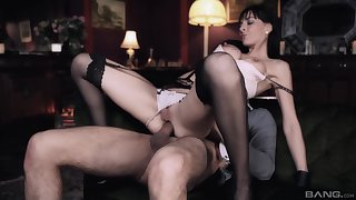 Brunette girl Franki sits on her friend's dick with her perfect butt