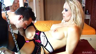 Before her friend fucks her in all poses Julia Pink gives him a blowjob