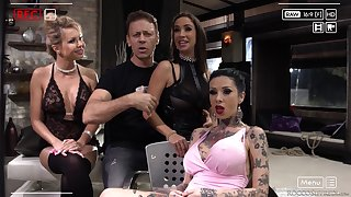 Malena and will not hear of slutty inked girls pounded in a group sex session