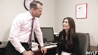 Office girl Angelina Diamanti works changeless to get ahead at her job