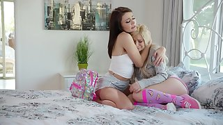 Brunette Adria Ray is going to bed anal hole of pretty blond girlfriend Kenzie Reeves