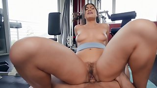 Aroused Asian with big ass, nasty riding porn within reach the gym