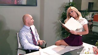 Big tits plus ass Tasha Reign fucked on the table at the end of one's tether her teacher