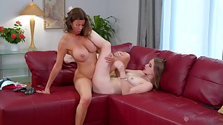 Munificence old woman likes a bit of scissoring with her inexperienced step daughter