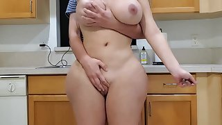 Scorching old lady coupled with sonny in kitchen
