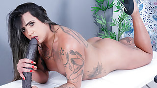 Trans Newbie Imola Castro Strokes Her Shecock and Plays Alongside a Well-known Dildo