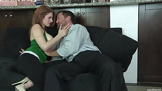Redhead soaks her giant tits in sperm thwart shagging law daddy