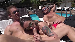Outdoor fun by the pool give two sluts willing to swap partners