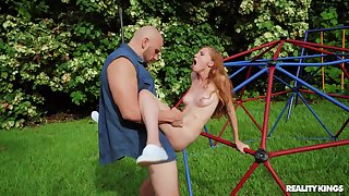 Outdoor fun in the parking-lot with a petite whore hungering and perverted