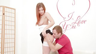 Fearless redhead leaves the man do whatever he likes with her cunt