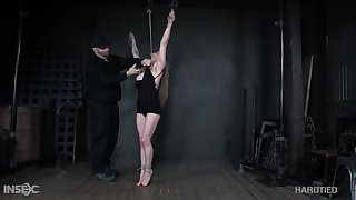 The bondage holds that put up well-muscled babe in place and she's ready be proper of some fun