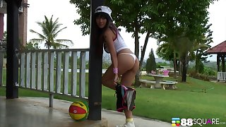 Premium display with a shy amateur Asian girl in need forth fa�ade slutty
