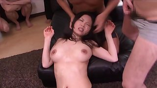 Charm gangbang orgy with Japanese office spoil - cumshots