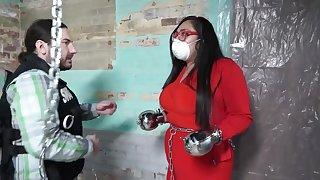 Fetish non-nude solitary with fat brunette mom - bondage, handcuffs, COVID mask